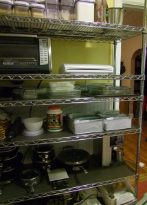 The wire shelves where the spice bins now live.